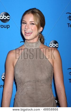 LOS ANGELES - AUG 4:  Emily Van Camp arrives at the ABC Summer 2013 TCA Party at the Beverly Hilton Hotel on August 4, 2013 in Beverly Hills, CA