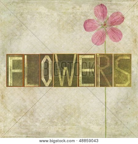 "Earthy background image and design element depicting the word ""Flowers"""