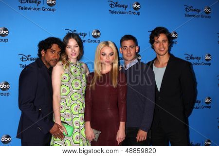LOS ANGELES - AUG 4:  Naveen Andrews, Sophie Lowe, Emma Rigby, Michael Socha, Peter Gadiot arrives at the ABC Summer 2013 TCA Party at the Beverly Hilton Hotel on August 4, 2013 in Beverly Hills, CA