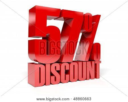 57 percent discount. Red shiny text. Concept 3D illustration.