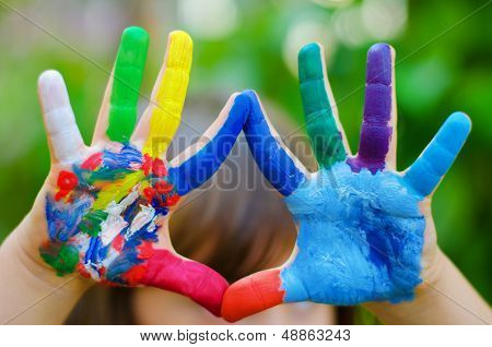 Painted Colorful Hands