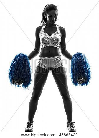 one young woman cheerleader cheerleading  silhouette studio on white background