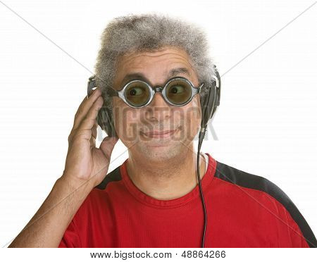 Interested Man With Headphones