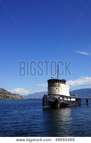 Old Tug Boat Moored On Lake Okanagan
