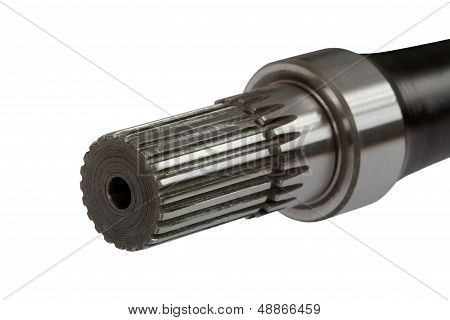 Splined Connection On Shaft, Isolated, On A White Background, With Clipping Path