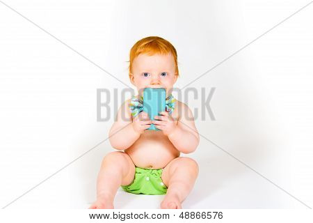 Baby Boy And Cell Phone