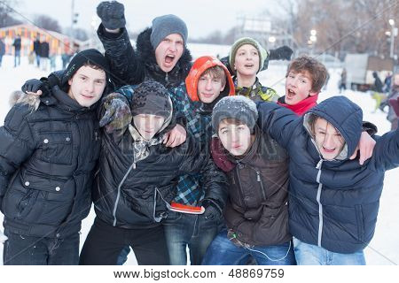 MOSCOW - DEC 9: A group of people having fun in the Central Park of Culture and Rest named after Maxim Gorky December 9, 2012 in Moscow, Russia. The park was established in 1928.