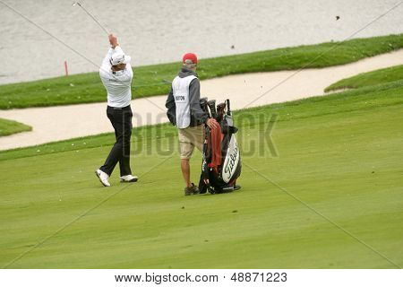 MOSCOW, RUSSIA - JULY 27: James Kingston of South Africa with his caddie during 3rd round of the M2M Russian Open at Tseleevo Golf & Polo Club in Moscow, Russia on July 27, 2013