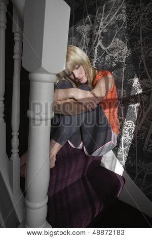 Full length of sad teenage girl hugging knees on steps at home