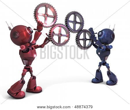 3D Render of Androids and gears