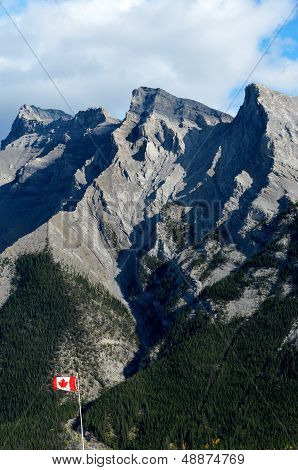 Mount Inglismaldie And Canadian Flag