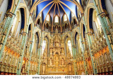 Ottawa, CANADA - SEP 8: Notre-Dame Cathedral Basilica interior on September 8, 2012 in Ottawa, Canada. It is the oldest and largest church in Ottawa and National Historic Site of Canada in 1990