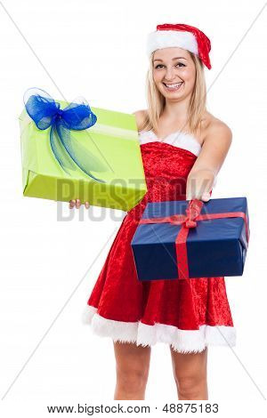 Happy Christmas Woman Giving Presents