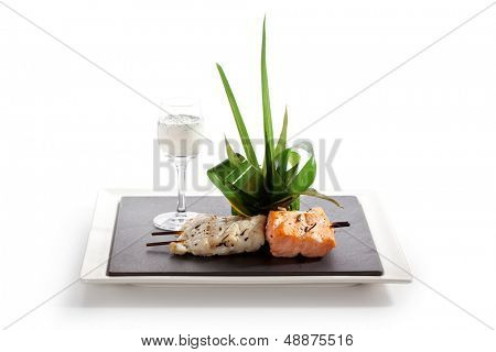 BBQ Salmon and Codfish with Spinach and Lemon Slice