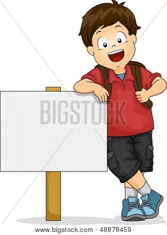 Illustration of Kid Boy Leaning on Blank Signboard