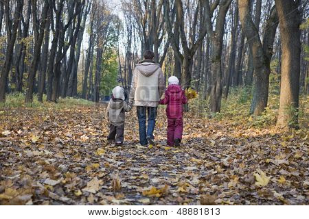 Full length rear view of mother and children walking in the park