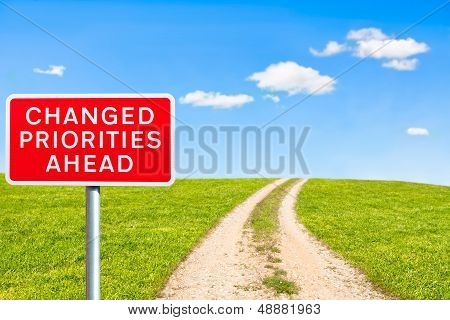 road sign priorities changed ahead on rural road