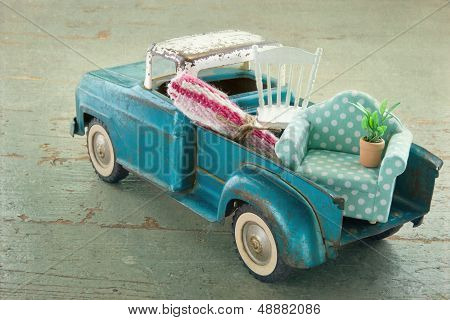 Old Vintage Toy Truck On Wooden Background