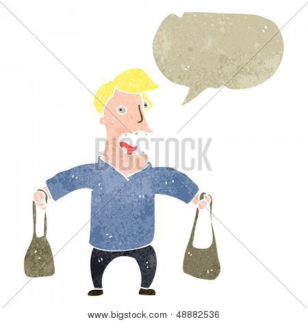 retro cartoon mam with shopping bags and speech bubble