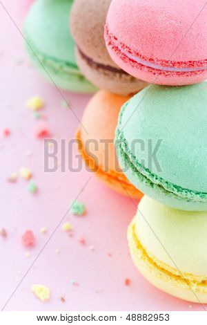 Colorful Macaroons On Pastel Pink Background