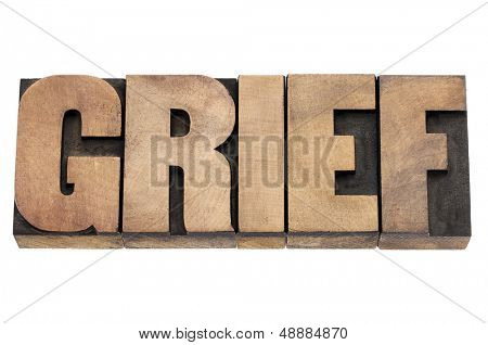 grief word - isolated text in vintage letterpress wood type