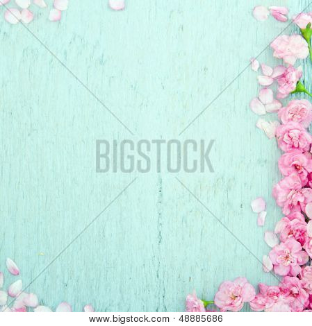 Blue Wooden Background With Pink Flowers