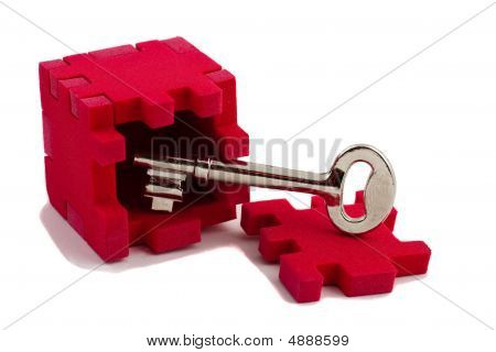 Key With A Cube Puzzle. Concept Of Solving Problems.