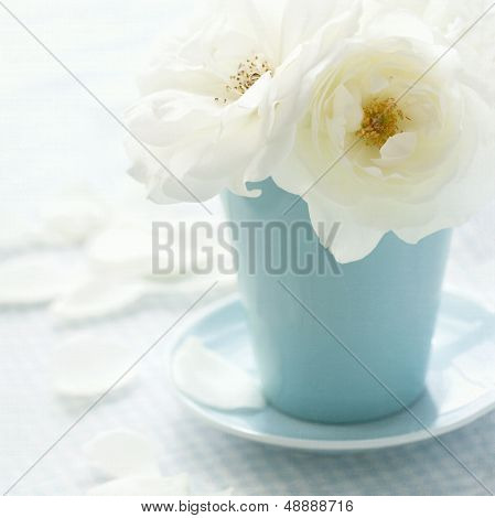 White Rose On Shabby Chic Vintage Background