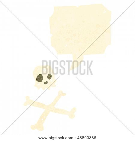retro cartoon skull and crossbones symbol with speech bubble