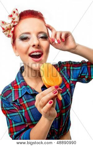 Bright picture of pretty girl in checked shirt with ice-cream