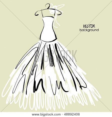 art sketched vector drawing of bride white dress