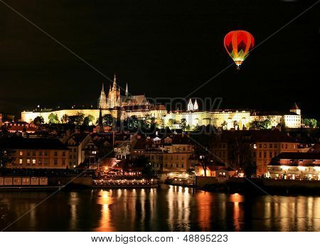 The Night View Of The Beautiful Prague City
