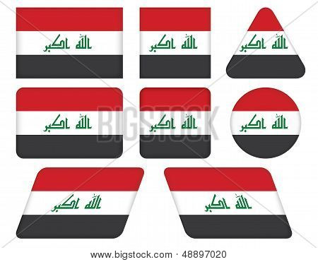 Buttons With Flag Of Iraq