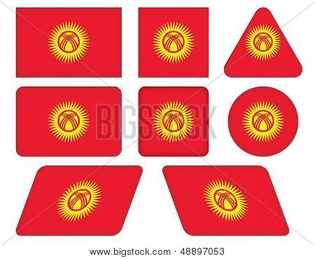 Buttons With Flag Of Kyrgyzstan