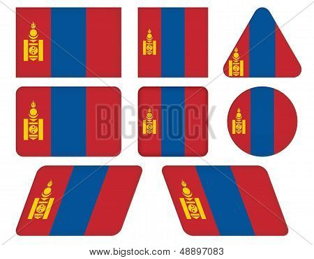 Buttons With Flag Of Mongolia