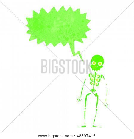 retro cartoon shrieking green skeleton