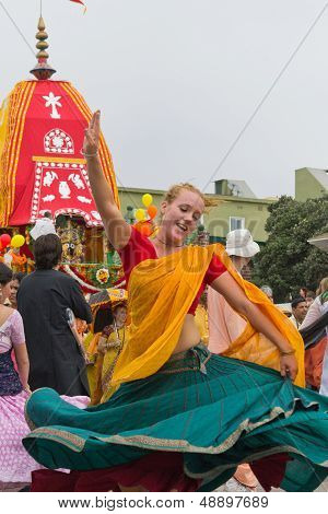 Woman Disciple Dancing On The Streets During The 37Th Annual Festival Of The Chariots