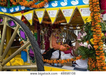 Chariot with picture of Srila Prabhupada in the 37th Annual Festival of the Chariots