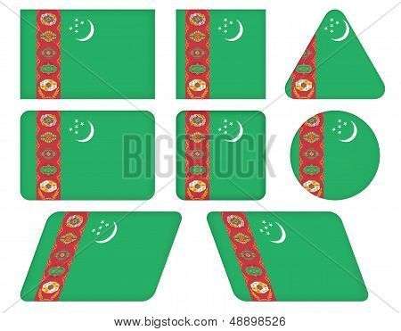 Buttons With Flag Of Turkmenistan