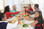 foto of drinking water  - Family All Together At Christmas Dinner - JPG