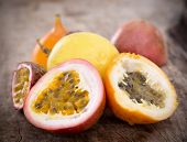 image of passion fruit  - Passion fruits on wooden background - JPG