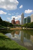 picture of nebraska  - Downtown Omaha nebraska skyline reflecting in a pond - JPG