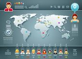 stock photo of population  - Vector world map and people infographics - JPG