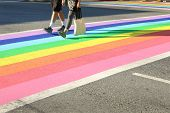 Pride Crosswalk Foot Traffic, Vancouver