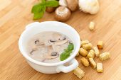 pic of champignons  - Homemade mushrooms cream soup with croutons and parsley - JPG