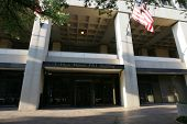 WASHINGTON, DC - JULY 29: An exterior view of the J. Edgar Hoover Building, FBI Headquarters, is sho