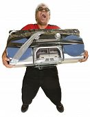 stock photo of hysterics  - Hysterical man with sunglasses and taped boom box - JPG