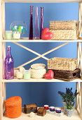 image of armoire  - Beautiful white shelves with different home related objects - JPG