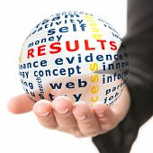 stock photo of motivation talk  - Transparent ball with inscription results in a hand - JPG
