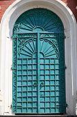 stock photo of exaltation  - Iron door of exaltation of the Cross cathedral in Brusensky monastery Kolomna Kremlin Russia - JPG
